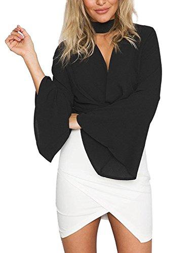 simplee-apparel-damen-v-ausschnitt-blusen-choker-elegant-chiffon-langarm-trompete-armel-kurz-shirts-