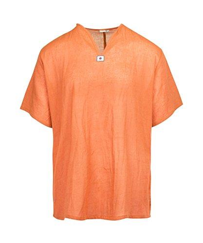 Lofbaz Herren Thai V-Neck T-Shirt Short Sleeve Orange S -