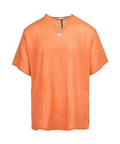 Orange-weiß Gestreiftes Hemd (Lofbaz Herren Thai V-Neck T-Shirt Short Sleeve Orange S)