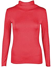 3723394277f884 janisramone Womens Ladies New Plain Turtle Polo Roll Neck Long Sleeve  Stretch Jumper T-Shirt