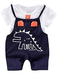 PAOLIAN Conjuntos para bebé niños Unisex Ropa para recién Nacidos Verano  Camisetas + Tirantes de Pantalones Corta… 9b5dd21c4547