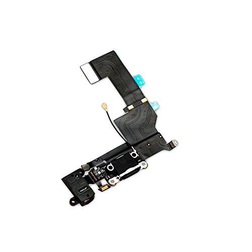 GiXa Technology iPhone Ladebuchse Dock Connector Antenne Audio Jack Flex Kabel Mikrofon für Diverse iPhone Modelle (iPhone 5S, Schwarz)
