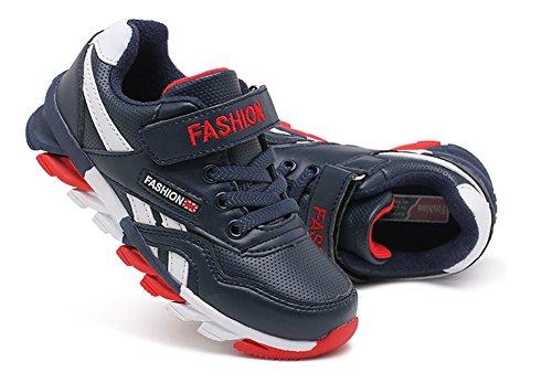 Wealsex Baskets Sneakers Basses Mesh PU Cuir Scratch Lacet Chaussures de Sport Running Compétition Entrainement Mixte Enfant Garçon Fille cuir bleu foncé
