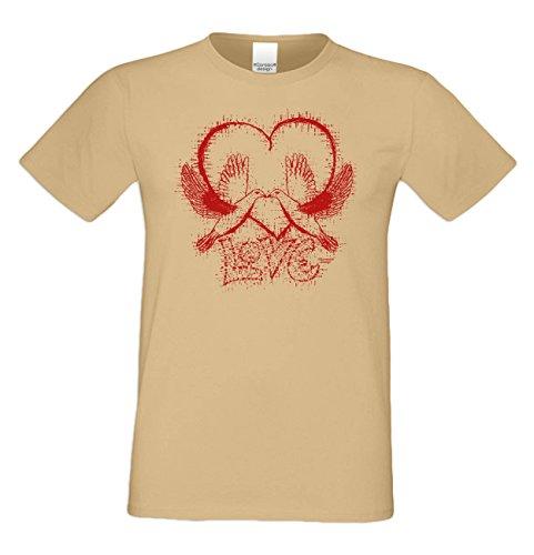 Als Liebesbeweis / T-Shirt Funshirt für Männer zum Valentin / Geburtstag / Vatertag Love Farbe: sand Sand