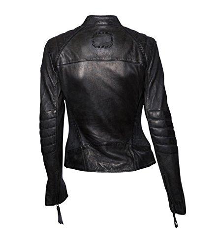 TIGHA Damen Lederjacke Gipsy Bikerjacke Jacke Leder – Leder – grau vintage black L - 2