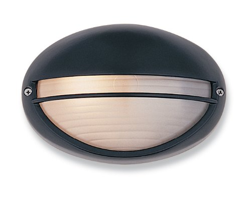 First Light Products 5203bk E27 IP44 1 x 100 W Streamline mur lumière avec verre opale, noir