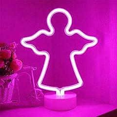 Idea Regalo - ENUOLI angelo della luce al neon rosa insegne al neon Segni lampade al neon luci della stanza della decorazione della batteria/USB alimentato Night Lights Angelo con piedistallo Rosa segni della lu