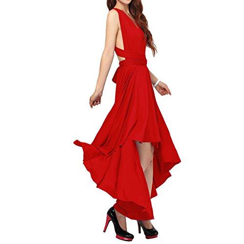 Damen Frauen Multi-tragen Kreuz Halfter Abendkleid Brautjungfer Hi-Lo Kleid Multiway-Kleid V-Ausschnitt Rückenfrei Maxikleid Sommerkleider Strandkleid Cocktailkleid Partykleid Rot 34-36