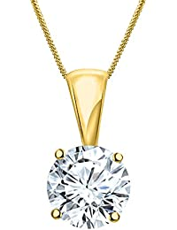 Silver Dew 925 Sterling Silver White Gold Plated CZ Round Pendant For Women's