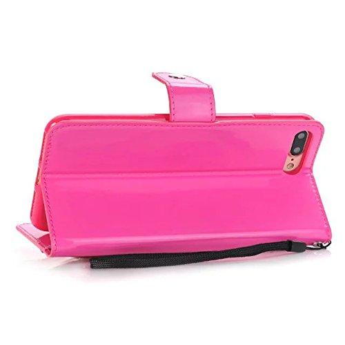 iPhone Case Cover Housse IPhone 7 Plus, Couleur Solide Surface Lumineuse Modèle Portefeuille Stand Case Avec Dragonne Pour Apple IPhone 7 Plus ( Color : Gold , Size : Iphone7 Plus ) Rose