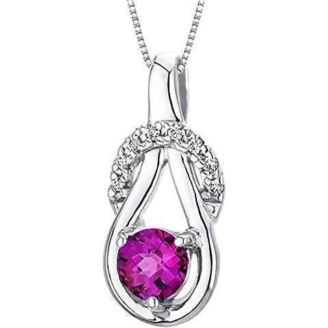 Revoni Ruby Pendant Necklace Sterling Silver Ribbon Style