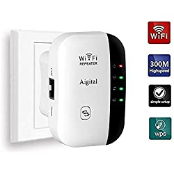 Aigital Répéteur WiFi Booster 300Mbps Extenseur sans Fil Amplificateur de Signal du Réseau(WPS, Installation Facile,1 Port Ethernet, Antennes Intégrées, 2.4GHz) Augmentation de la Couverture WiFi