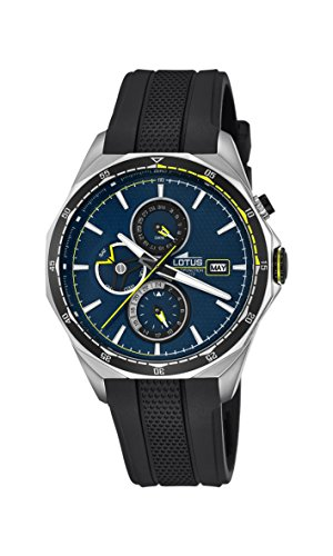 Lotus Men's Quartz Watch with Blue Dial Analogue Display and Black Rubber Strap 18321/2