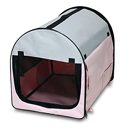 BUNNY BUSINESS Fabric Soft Dog Puppy Cage Folding Crate with Fleece and Carry Case, Small, 27-inch, Claret/ Grey 1