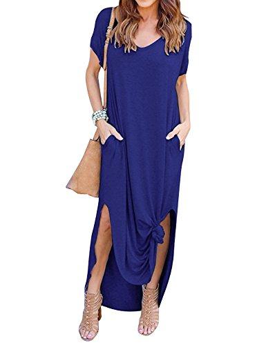 Yidarton Damen Sommerkleid Casual V-Ausschnitt Kurzarm Tasche Side Split Beach Long Maxi Kleid (L, Blau)