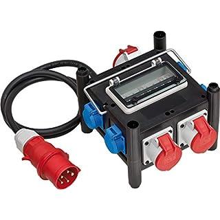 Brennenstuhl Kompakter Gummi-Stromverteiler (2 m Kabel, 2x CEE 400V/16A, 1x CEE 400V/32A, 4x 230V/16A, Baustelleneinsatz und ständigen Einsatz im Freien) schwarz