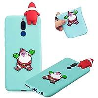 TPU Hülle für Huawei Mate 10 Lite,Weiche Gummi Handyhülle für Huawei Mate 10 Lite,Moiky Ziemlich 3D Dekor Weihnachten Stil Muster Silikon Schutzhülle - Weihnachtsmann,Blau