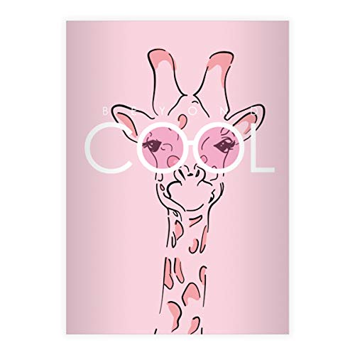 4 Beyond Cool DIN A5 Schulhefte, Rechenhefte mit Sonnenbrillen Giraffe, rosa Lineatur 28 (kariertes Heft 16 Blatt/32 Seiten) Notizheft, Kladde für Schule, Universität, Büro