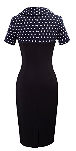 HOMEYEE Damen Vintage Langarm Elegant Kleid Business Party Cocktailkleid Knielanges Abendkleid B238 Dot + Kurzarm
