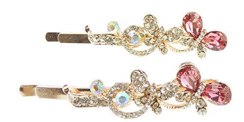 Damen Mädchen Luxus Paar glitzernden Kristall 6cm Haarklemmen Schmetterling Paar