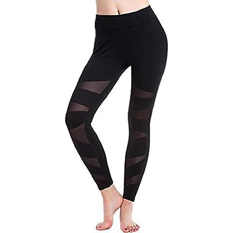 Pantalones mujer deporte Sannysis yoga pantalón chandal negro transparente (XL)
