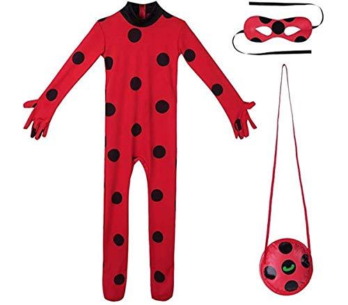 Tiaobug Mädchen Overall Ganzkörper Maske Cosplay Jumpsuit Body Suit Rot Anzug Weihnachten Halloween Kostüme Kinder Karnevals ()