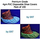 Ert DISPOSABLE PVC SHOE COVERS. MAX STRENGTH WATERPROOF ANTI SLIP. ONE SIZE FITS ALL. Pack of 100-Green