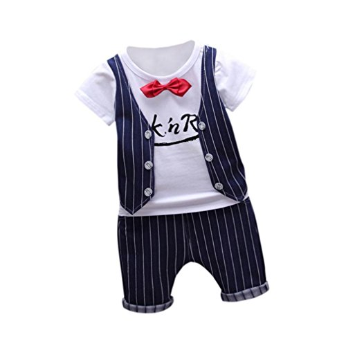 PINEsong 2PC Outfits Kleidung Kleinkind Kinder Baby Junge T-Shirt Tops+Hose (Marine, 0-1Y) (Schmetterling Outfits Für Babys)