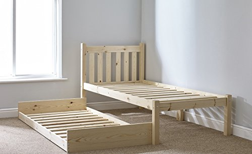 Wooden GUEST BED - 3ft single pine guest bed Frame - with pull out trundle guest bed