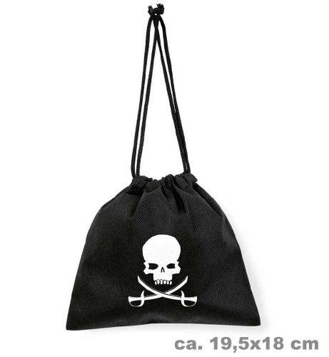 Piraten-Beutel, Totenkopf, schwarz, Pirat, Münz-Beutel, Piratensäckchen (Piraten Beutel)