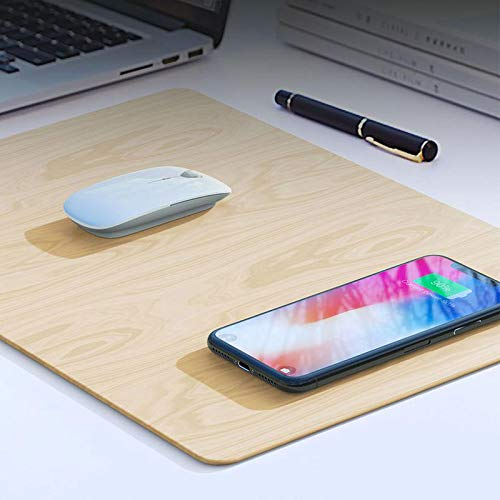 SHOP-STORY – Tappetino per Mouse con Caricatore Wireless a Induzione Qi Integrato in Zona di Ricarica per iPhone X, iPhone 8 8 Plus Huawei Samsung Note 8 Galaxy S6 S7 S8 S9 S10/Edge. Versione Legno
