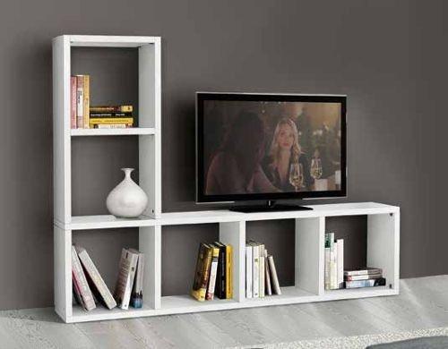 Legno&Design Porte TV, Bibliothèque séjour Blanc frassinato 6 éléments
