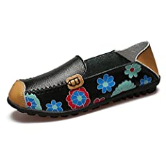 b4857ddfd1552 Eagsouni Women's Leather Loafers Moccasins Casual Slip On Driving Dancing  Boat Shoes Flower Printed Flat Pumps - Casual Women's Shoes