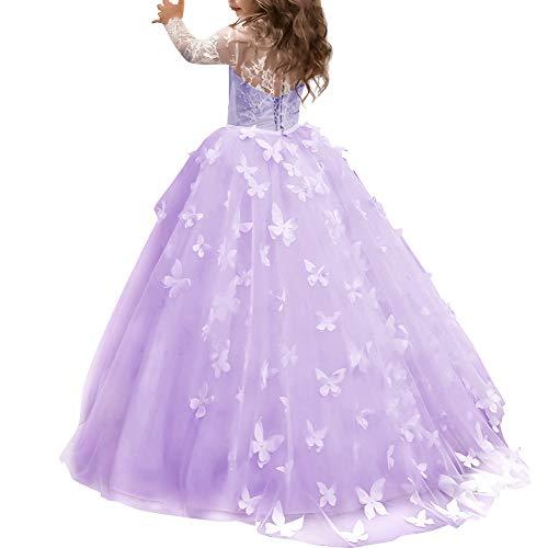 OBEEII Mädchen Blumenmädchen Schmetterling Prinzessin Kleider Blumenspitze Applique Bestickt...
