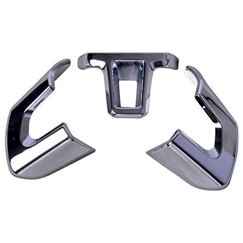 beler 3pcs Silber Chrom Lenkrad Trimm Set Kit Innendekoration (Lenkrad-kits)