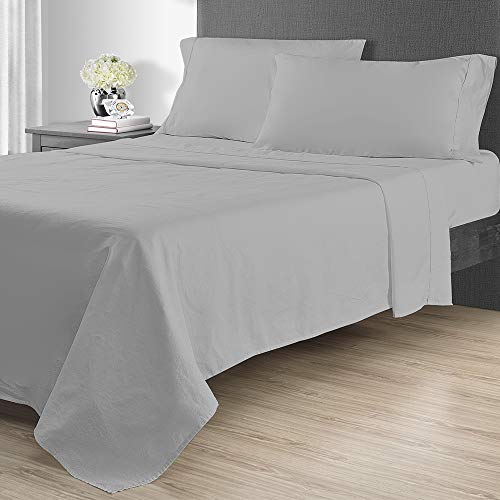 Sunham Home Fashions 1400 TC Sheet Set, California King, Light Grey -