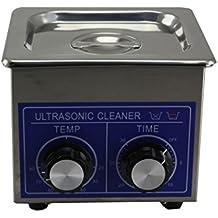 Jakan - Pulitore a ultrasuoni in acciaio INOX meccanico, con timer e riscaldamento, Acciaio inossidabile, Grigio, 3 l