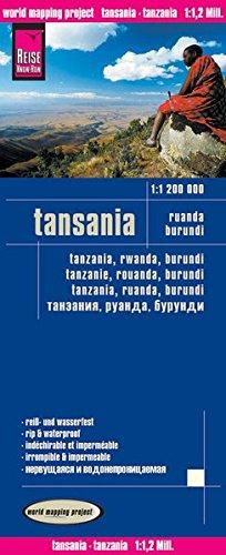 Tanzania, Ruanda, Burundi, mapa de carreteras impermeable. Escala 1:1.200.000. Reise Know-How. (World Mapping Project) por VV.AA.