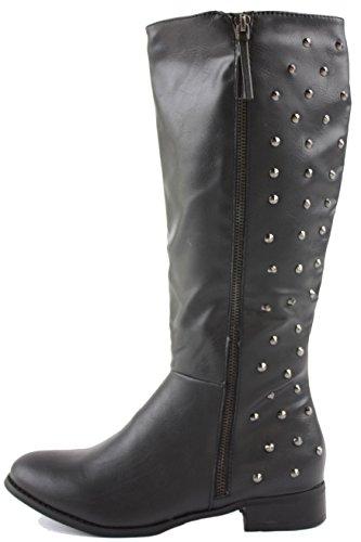 Womens Winter Biker Pirate Style Low Flat Heel Calf Leg Knee Boots Size 3-8