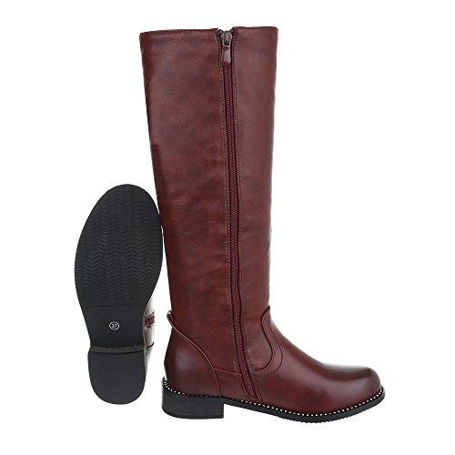 Ital-Design Klassische Stiefel Damenschuhe Klassische Stiefel Blockabsatz Blockabsatz Reißverschluss Stiefel Bordeaux