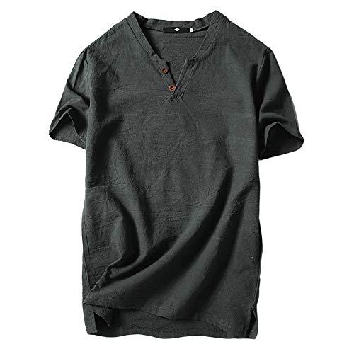 Auied Herren Sommer Casual Leinen Und Baumwolle Kurzarm Solide V-Ausschnitt T-Shirt Top ()
