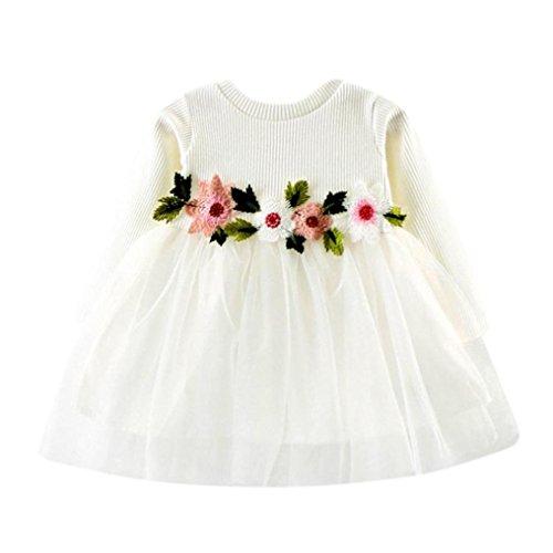 Yanhoo Kindermode Prinzessin Kleid Mädchen Festlich Blume Abziehbilder Hochzeit Partykleid Rundhals Tüll Festzug Festlich Kleinkind Kleidung Mädchen (10, Weiß B)
