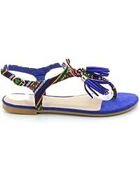 Sandales plates ethniques à pompons