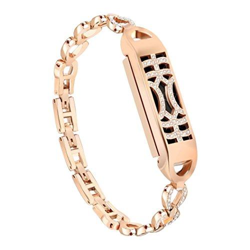 samLIKE 215mm Montre bracelet pour Fitbit Flex 2Métal magnétique adsorption Interrupteur brillante Design Bracelet pour femme 3couleurs, Or rose