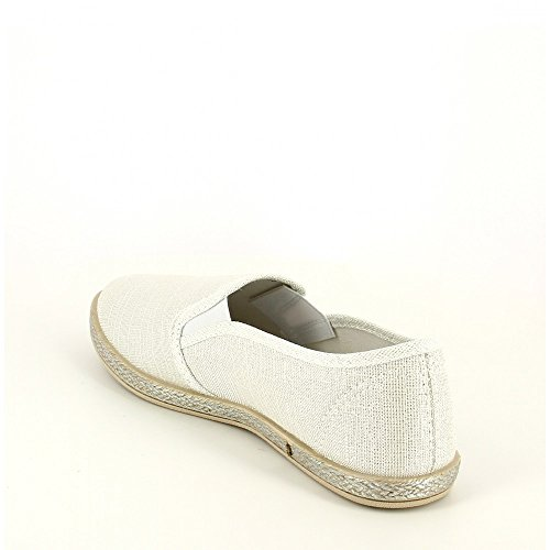 Ideal Shoes-Slip-on con lustrini, in tela Kaelle Argento (argento)