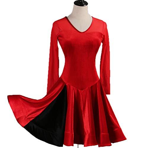 Klassische Kostüm Jazz Dance - Klassische Samt Latin Dance Kleider für Mädchen Übung/Trainingskostüm Tango Rumba Rock EIN Stück Art Test Tanz Abnutzungs, XXL