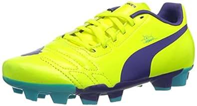 Puma evoPOWER 4 FG Jr, Unisex-Kinder Fußballschuhe, Orange (fluro yellow-prism violet-scuba blue 04), 35 EU (2.5 Kinder UK)