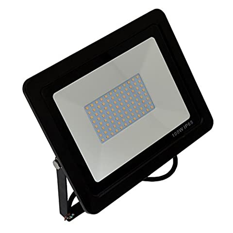 ZEVVL 100W LED Flood Light Outdoor Lighting 110V 400W HPS Bulbs Equivalent 10000lm 5500K Daylight White Floodlight