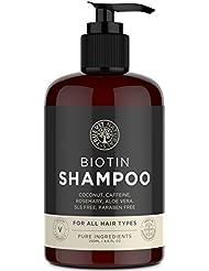 Biotin Shampoo with added Coconut Oil, Aloe Vera, Rosemary Oil Extract and Caffeine for Hair Growth - 250ML - Vegan Shampoo - Paraben Free & SLS Free