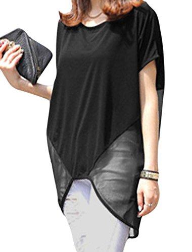 Femmes Décontracté Mousseline De Soie Patchwork Semi-transparente Ourlet Bas Haut En Vrac Tunique Haut Noir